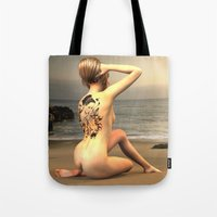 erotic Tote Bags featuring erotic tattoo by flamenco72