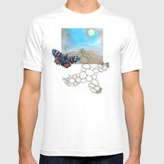 Last Flight of the Red Admiral Butterfly MEDIUM Mens Fitted Tee White