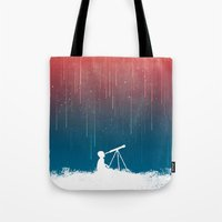 rain Tote Bags featuring Meteor Rain (light version) by Picomodi