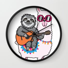 Sloth llama guitar Wall Clock