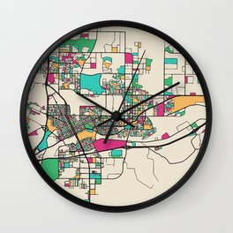 Colorful City Maps: Cheyenne, Wyoming Wall Clock