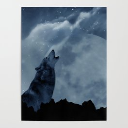 Wolf howling at full moon Poster