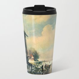 Winter scene in Holland, oil painting Travel Mug