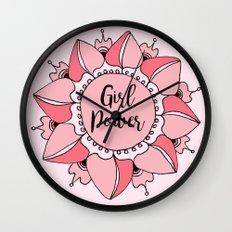 Girl Power Pink Mandala Wall Clock