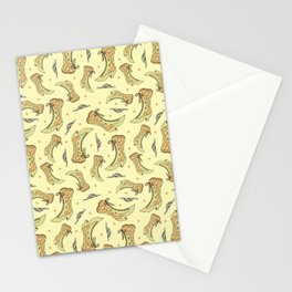 Vintage Victorian Lace-up Boots Pattern Stationery Cards