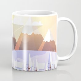 Vector Art Landscape with Fire Lookout Tower Coffee Mug