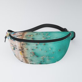 Go With The Flow   Aerial Print   Beach Print   Waves Art Print   Ocean And People In Hot Vacation Fanny Pack