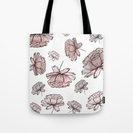 Hand Drawn Peonies Dusty Rose Tote Bag