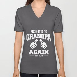 Promoted to Grandpa Again Funny Unisex V-Neck