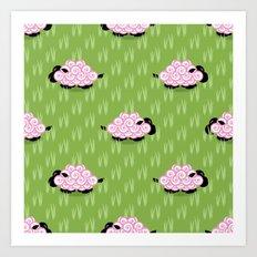 Pastel Sheep Pattern Art Print