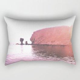 BLUSH BEACH DAYS Sunset beach rocks Rectangular Pillow