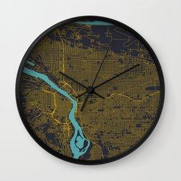 Portland, OR City Map, Yellow/Navy Wall Clock
