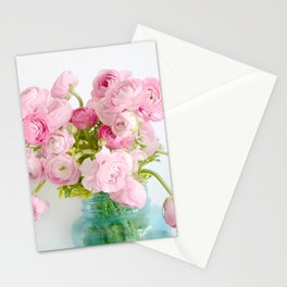 Dreamy Shabby Chic Ranunculus Peonies Roses Print - Spring Summer Garden Flowers Mason Jar Stationery Cards