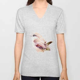 Watercolor Wren Painting Unisex V-Neck
