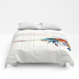 Colorful Shrimp Art by Sharon Cummings Comforters
