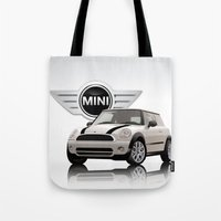 mini cooper Tote Bags featuring Mini White Cooper by McGrathDesigns