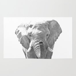 Black and white elephant illustration Rug