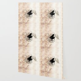 Music, piano with key notes and clef Wallpaper