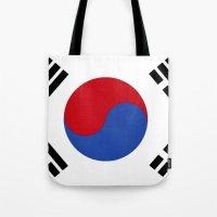 korean Tote Bags featuring South Korean Flag  by Laura Ruth