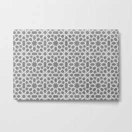 Grey, white Design - Geometric oriental pattern, traditional Morocco Style Metal Print