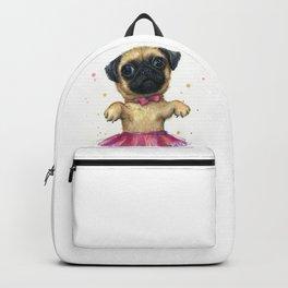 Pug in a Tutu Cute Animal Whimsical Dog Portrait Backpack