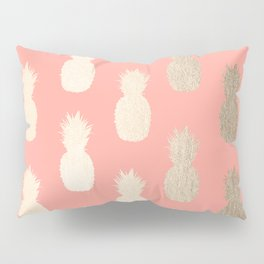 Gold Pineapples on Coral Pink Pillow Sham