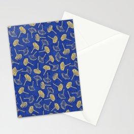 Ginkgo Biloba linocut pattern GLITTER GOLD DEEP BLUE Stationery Cards