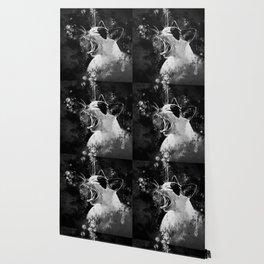 evil cat mouth wide open splatter watercolor black white Wallpaper