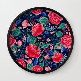 Red Roses with Green & Blue Leaves - Floral Pattern Wall Clock