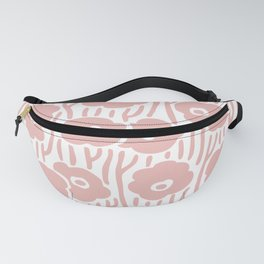Mid Century Modern Wild Flowers Pattern Dusty Rose Fanny Pack