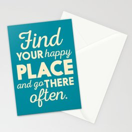 Be happy, wanderlust, find your happy place, travel, explore, go on an adventure, world is my home Stationery Cards