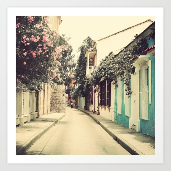 Just like a dream street, Cartagena (Retro and Vintage Urban, architecture photography) Art Print