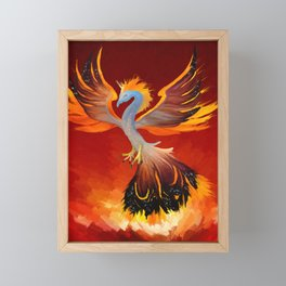 Cosmic Phoenix - Fire Burst Framed Mini Art Print
