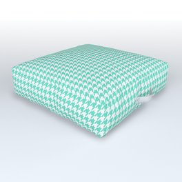 Aqua Blue And White Hounds-tooth Check Outdoor Floor Cushion