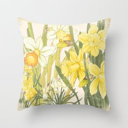 Vintage Floral Paper:  Spring Flowers on Shabby White -Daffodils Throw Pillow