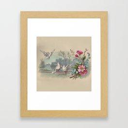 Vintage White Forest Birds Framed Art Print