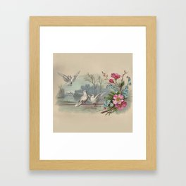 Vintage White Forest Birds Framed Art Print
