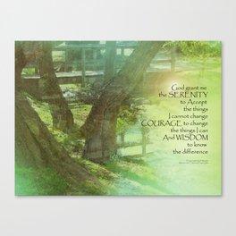 Serenity Prayer Trees, Water, Bridge Canvas Print
