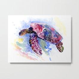 Sea Turtle , purple blue design, swimming sea turtle underwater beach scene Metal Print