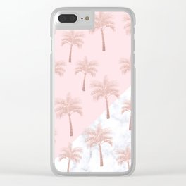 Elegant rose gold glitter palm pattern, white marble & pink Clear iPhone Case
