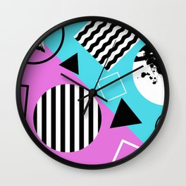 Stripes And Splats 1 - Wacky, Random, Abstract, Black And White Stripes, Blue and pink Artwork Wall Clock