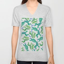 Watercolor hand painted violet green cactus floral Unisex V-Neck
