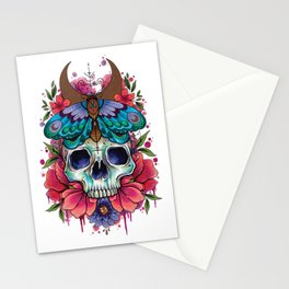 Neo Traditional Skull and Moth watercolor design Stationery Cards