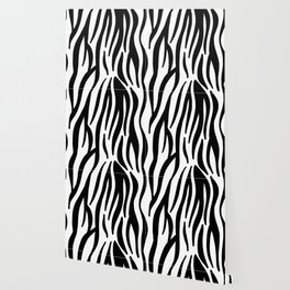 abstract modern safari animal black and white zebra print Wallpaper