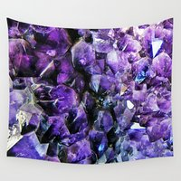 geode Wall Tapestries featuring Amethyst Geode by The Wellington Boot