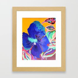 Birthday Acrylic Blue Orange Hibiscus Flower Painting with Red and Green Leaves Framed Art Print