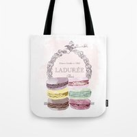 macaroon Tote Bags featuring French Macaroon, Kitchen Art, Pastel by PeachAndGold