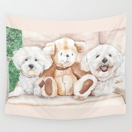 Two Bichons and A Friend Wall Tapestry