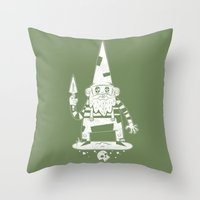 gnome Throw Pillows featuring Gnome by Matt Sinor