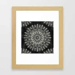 Vintage Mandala on black Framed Art Print